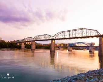 Chattanooga Photography Wall Art Walnut Street Bridge Sunset Tennessee River Prints Canvas Framed Canvas 30x20, 36x24, 40x32