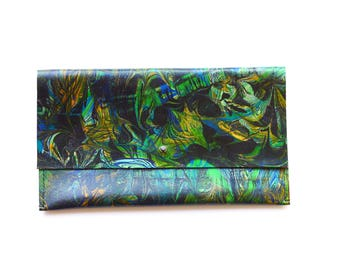 Unique Forest Abstract Green Leather Clutch Bag Purse