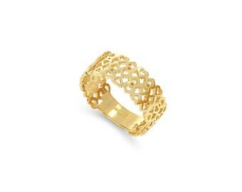 14k solid gold hearts band. Hearts ring.