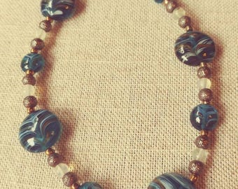 Handmade Blue Swirl Necklace