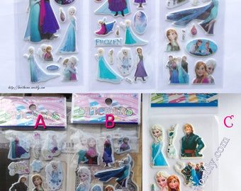 Disney Frozen (Elsa, Anna, Olaf, Kristoff...) stickers sheet for scrapbooking, stationery, decoration... - 6 different designs