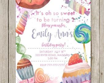 Printable DIY Birthday Invitation   Oh So Sweet Birthday   Candy Shoppe Birthday   Sweet Shoppe Birthday   Candy Shop   Watercolor