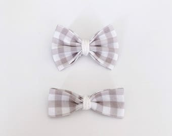 Boucle vichy taupe - Vichy neutral hair bow