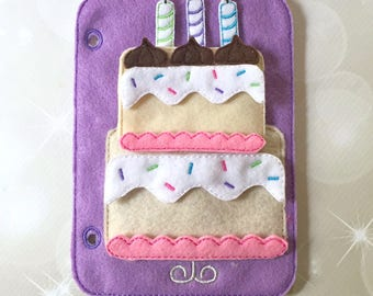 Quiet Book Page - Busy Book - Pre School Learning - Layer Cake Playset Page- Toddler Learning - Kids Activity Pages - Felt Toys -Bake a Cake