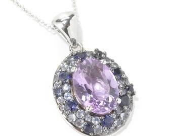 """Platinum o/ Silver 6.96ctw Amethyst Tanzanite Iolite Pendant 1.25""""L & 18"""" Chain"""