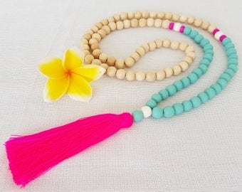 Neon Pink tassel necklace with turquoise resin beads and natural wooden beads- a Bright new Penny favorite