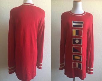 vintage 90's LIZ CLAIBORNE world flag red sweater DRESS - small, medium