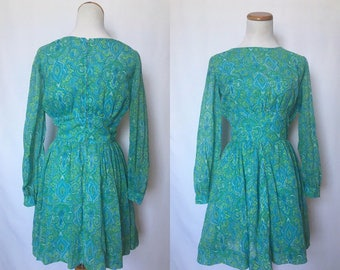 vintage 60's PSYCHEDELIC PAISLEY sea foam green and blue mini DRESS with sheer poet sleeves - small