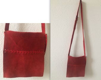 vintage 60's BURNT RED SUEDE bag - small, crossbody