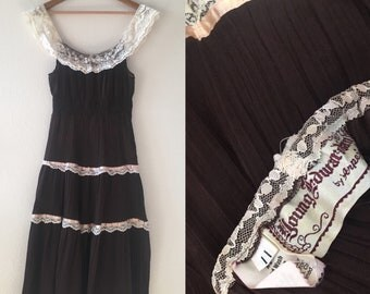 vintage 60's/70's YOUNG EDWARDIAN by ARPEJA brown folk summer dress - small, medium