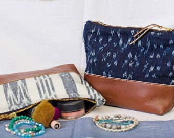 Fair Trade, Ikat and Leather, Cosmetic Bag.