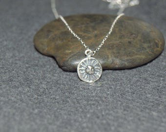 silver sun necklace, tiny sun disk necklace, sterling silver dainty necklace, beach jewelry, celestial necklace