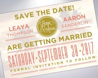 Save The Date Postcard | Beach Wedding | Palm Trees | Engagement Announcement | Printable | Digital | Wedding Announcement with Calendar