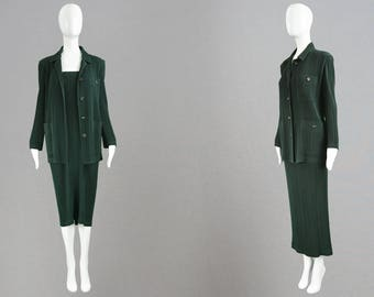 Vintage 90s ISSEY MIYAKE Forest Green Pleated Maxi Skirt & Jacket Set Minimalist Dress Suit Japanese Designer Made in Japan Office Wear M