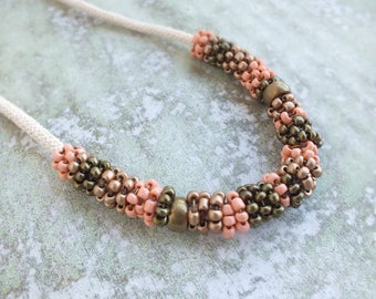 Rope Necklace, Hippie Boho necklace, Peach Necklace, Rope Statement Necklace, Colorblock necklace, Hippie jewelry