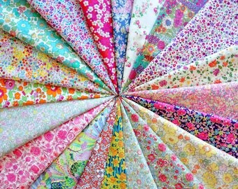 "20 LIBERTY fabric Tana Lawn 5"" x 5"" Patchwork Charm Squares, scraps, pieces  'Botanical Prints', 'Floral Prints', 'Meadow Prints'"