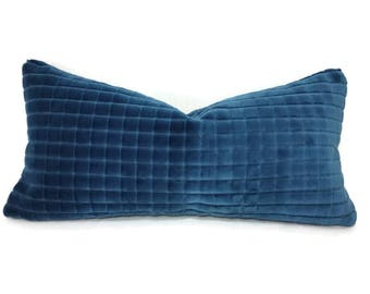 "12"" x 20"" Blue Velvet Squares Lumbar Pillow Cover"