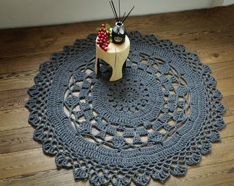 Large Handmade round crochet rug, wool rug, natural rug, baby eco-friendly rug, home decor rug,eco friendly, gray wool rug