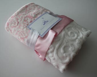 Pink Damask Minky with Embossed Vine Baby Blanket and Finished with a Baby Pink Satin Trim - Baby Girl, Crib Bedding, Infant and Toddler