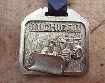 Vintage Metal Tractor Watch Fob - Michigan Tractor Advertising Watch Fob