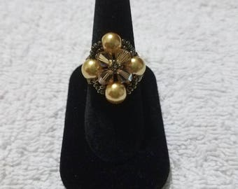 Elegant Gold Beaded Ring