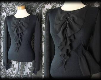 Goth Black Fine Knit VICTORIAN GOVERNESS Frilled Bib Blouse 12 14 Vintage Pin Up
