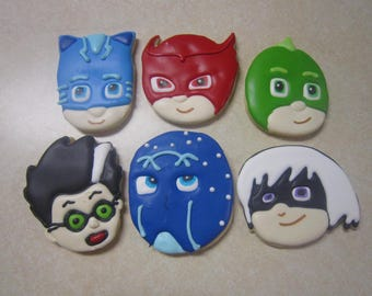 1 Dozen Hand Decorated PJ Masks Cookies Fan Art