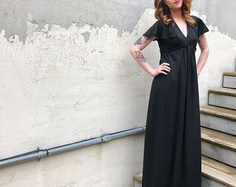 1970s Black Beauty Maxi Dress, Vintage Black Maxi Dress, Long Black Dress, Polyester Black Dress, V-neck Black Dress, 70s Black Dress