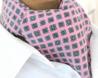Ascot, scarf ,Tie,pur silk,pink, mix