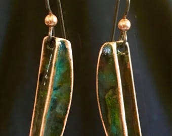 Copper fold formed earring with green patina finish