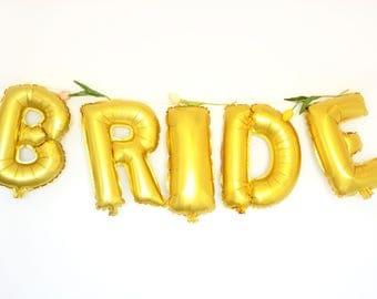 15'' Gold Letter BRIDE Foil Party Balloons