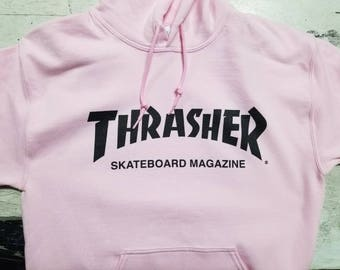 Thrasher skateboard magazine girls Pink hooded pullover hoodie clothing cute punk style