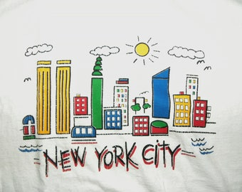 1980s 90s T-shirt / NYC / souvenir / tourist / t shirt / tee / Twin Towers / made USA / vintage adult S
