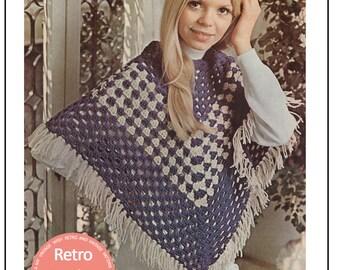 1970s Crochet Poncho Pattern -  PDF Instant Download