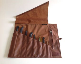 Personalized Leather knife roll, chefs gift, Knife bag, Gift for Him, Chefs Knife Bag
