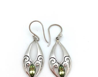 Sterling Silver and Peridot Marquis Earrings