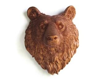 Faux Taxidermy Small Copper Bear Head - Fake Animal Head - Nursery Decor - Animal Head - Kids Room Decor - Office Wall Decor