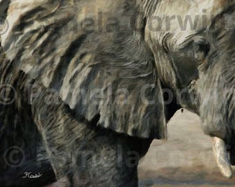 "Abstract African elephant art print on canvas: 24x36"""" elephant canvas print, African animal art, Elephant art print, large elephant canvas"