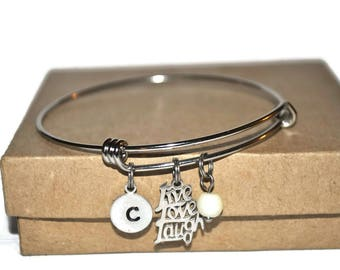 Stainless steel live, love, laugh expandable bracelet with initial and simulated pearl dangle