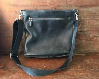 Vintage black leather Coach cross body bag #9432