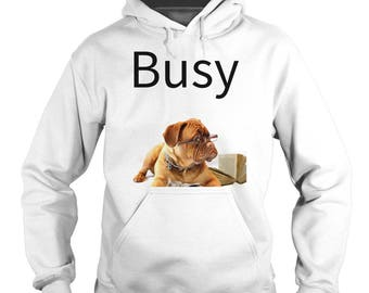 Busy Hoodie with lovable dog