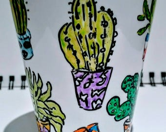 Cactus heaven mug - Mug for cactus lovers - Plant lovers mug - Gift for gardeners - Kitchenware - Houseware - Cactus geeks - Handpainted