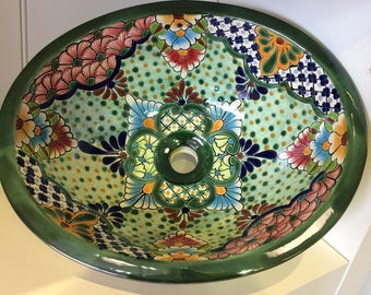 Free Shipping!  Beautiful Green Talavera Sink