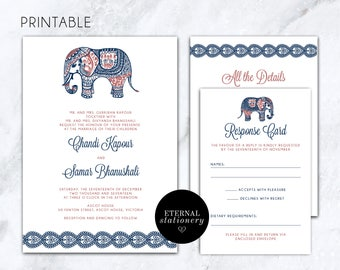 "Wedding Invitation Printable - Indian Paisley Invitation ""Chandi"", Digital Printable"
