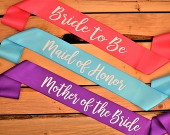 Bridal Party Sashes, Bride Sash, Bridesmaid Sash, Bachelorette Party Sashes, Maid of Honor Sash, Bride to Be Sash, Bachelorette Party Gift
