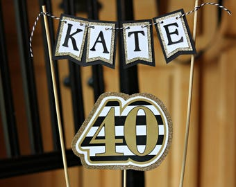 LADIES 40TH BIRTHDAY decorations.  40th Cake Topper, 40th Birthday Cake, Birthday for Her, Party Decor, Black and Gold