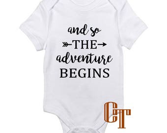 And So The Adventure Begins Custom Pregnancy Announcement Reveal Onesie Due Date Baby Infant Newborn Gift Bodysuit Pregnant Photography