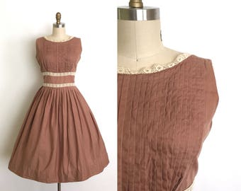 vintage 1950s dress | 50s milk chocolate and lace dress