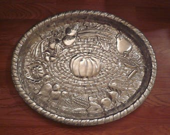 "Wilton Armetale Majolica Vegetables Basket Weave Large Oval Tray 9 1/2"" USA"