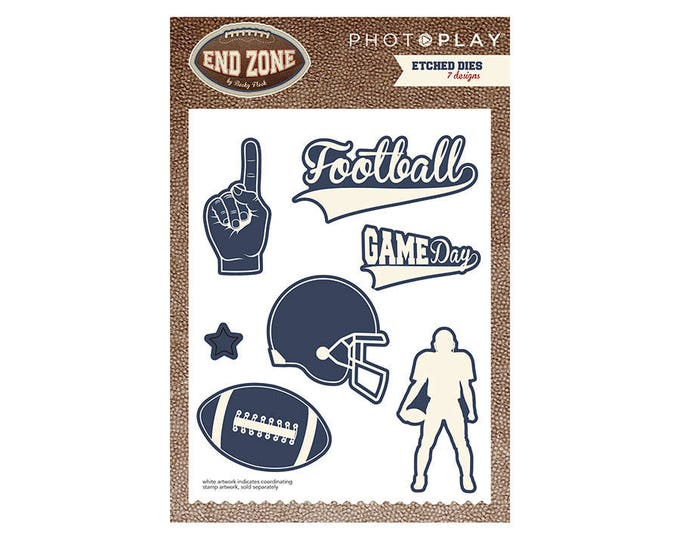 Photo Play END ZONE Football Theme Shapes Etched Dies Set